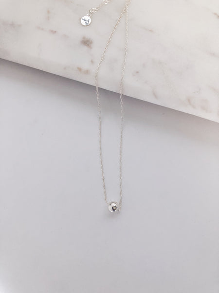 Sterling Floating Sphere Necklace