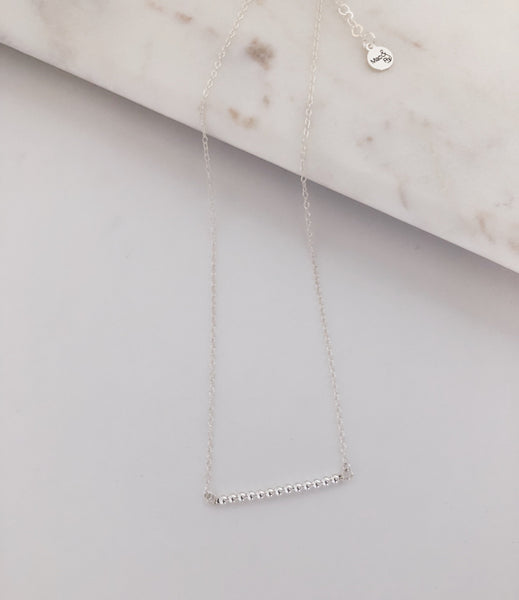 Sterling Sphere Bar Necklace