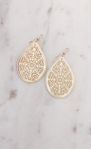 14k Gold Filled Teardrop Filigree Earrings