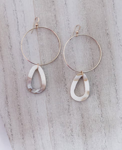 Mother of Pearl Shell Drop Hoops