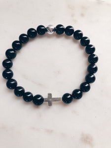 Black Spinel and Sterling Silver Cross Beaded Bracelet