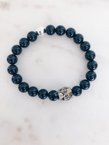Black Spinel and Swarovski Crystal Skull Beaded Bracelet