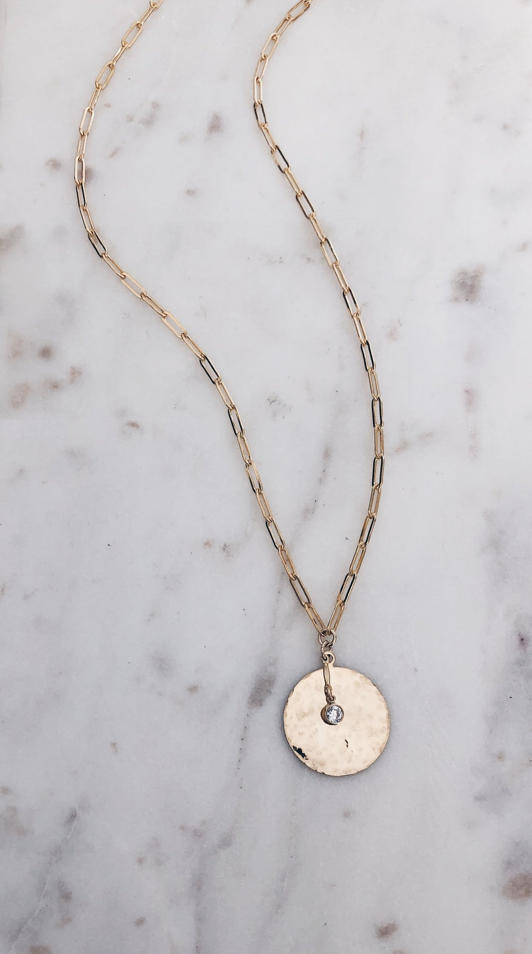Hammered Coin & CZ Link Necklace