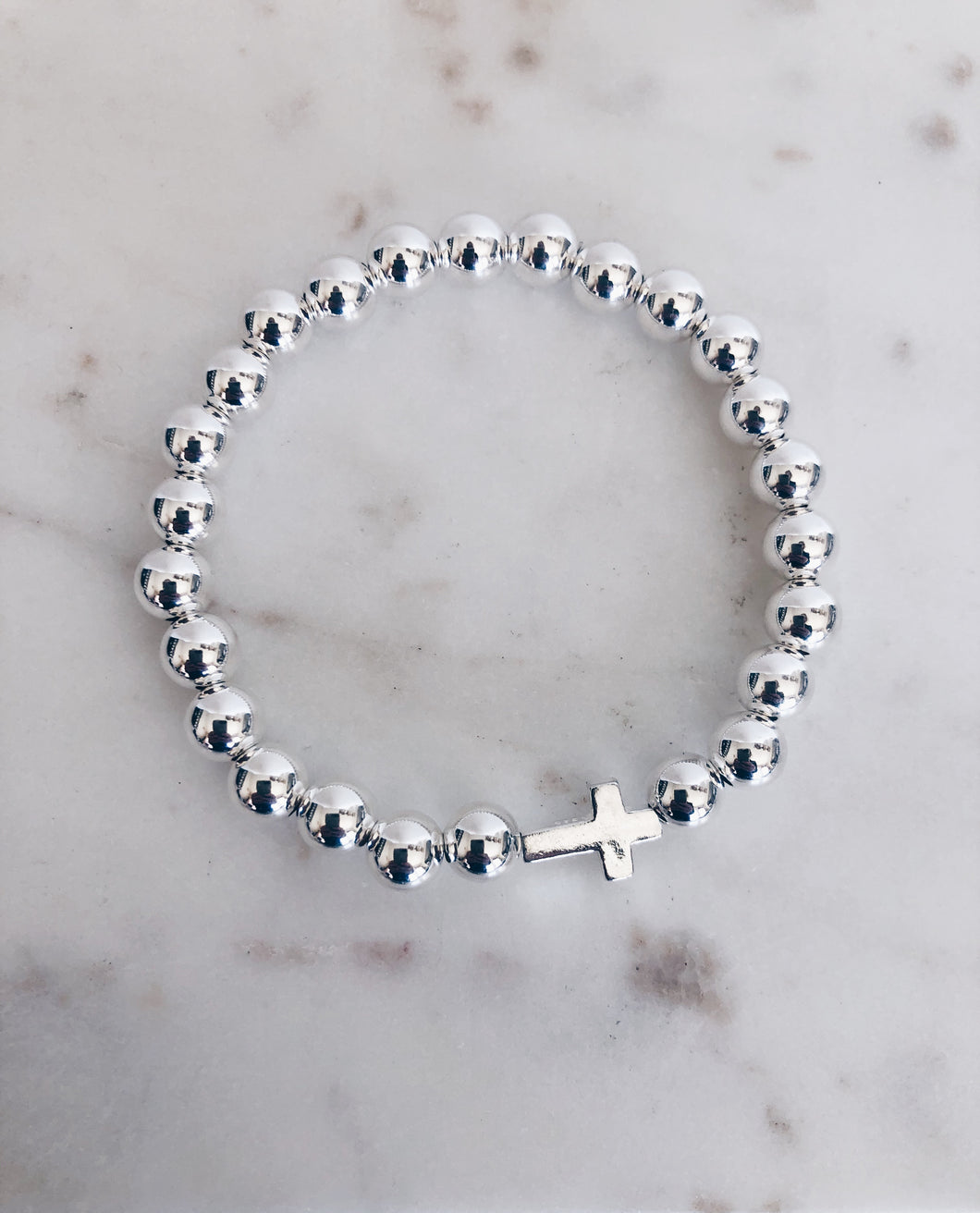 Sterling Silver Cross and Beaded Bracelet