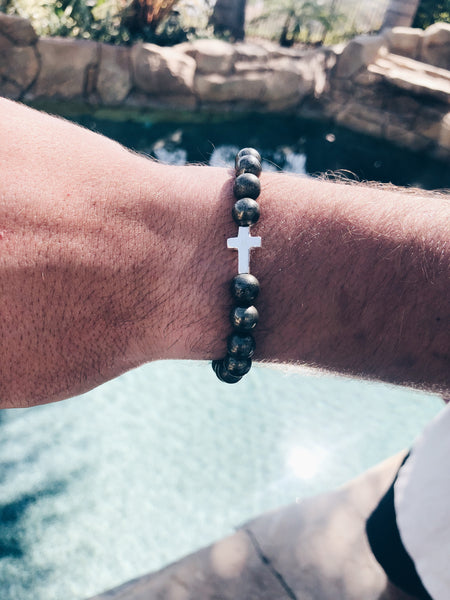 Pyrite and Sterling Silver Cross Beaded Bracelet