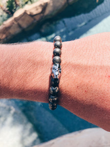 Pyrite and Swarovski Crystal Skull Beaded Bracelet