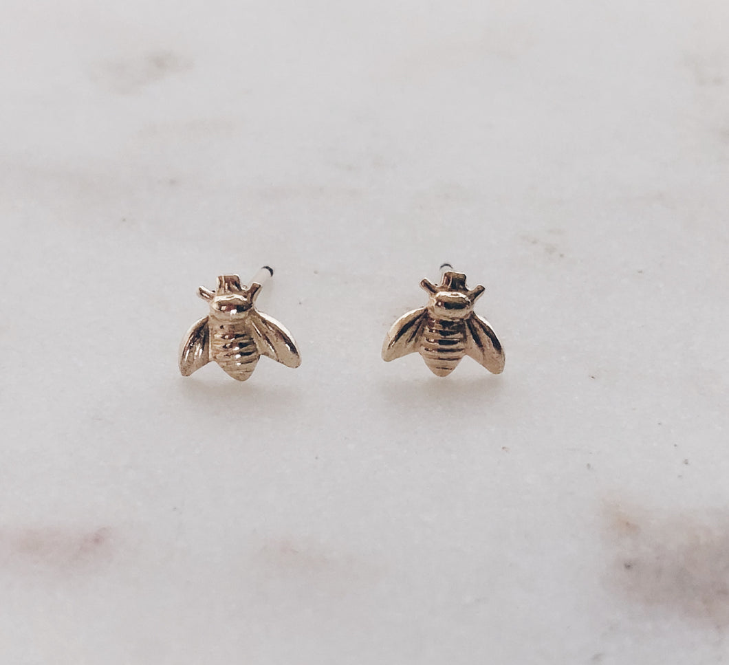 Gold Filled Mini Bee Studs