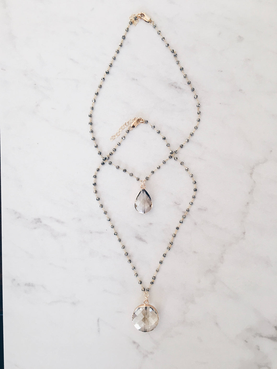 Champagne Crystal Rosary Necklace