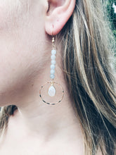 Aquamarine and Moonstone Duster Earrings