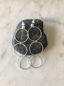 Trio Link Hammered Hoops