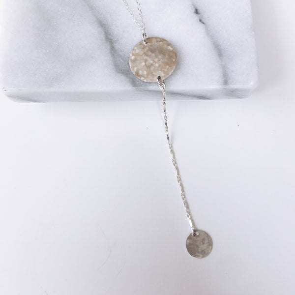 Hammered Coin Y Necklace