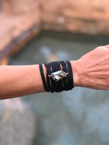 Champagne Crystal Leather Cuff