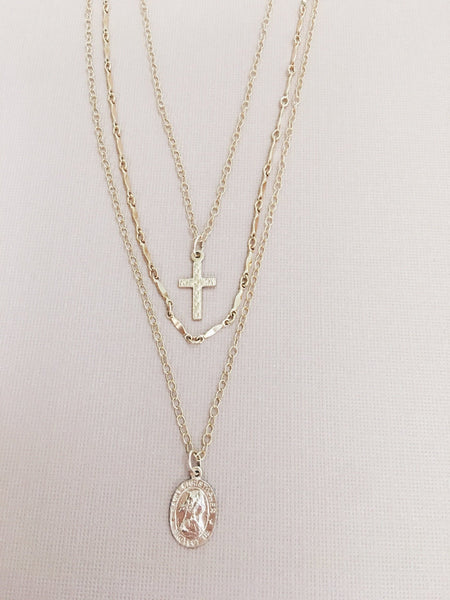 The Heavenly Collection...Layered St. Christopher & Cross Necklace