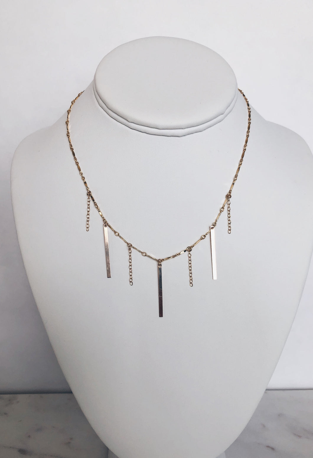 Fringe Bar & Chain Necklace