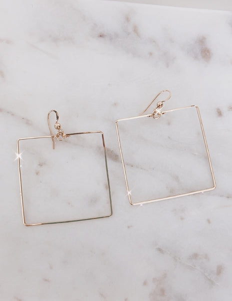 Simple Square 14k Gold Fill Hoops
