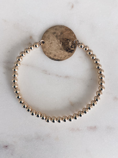 Hammered Coin Beaded Bracelet