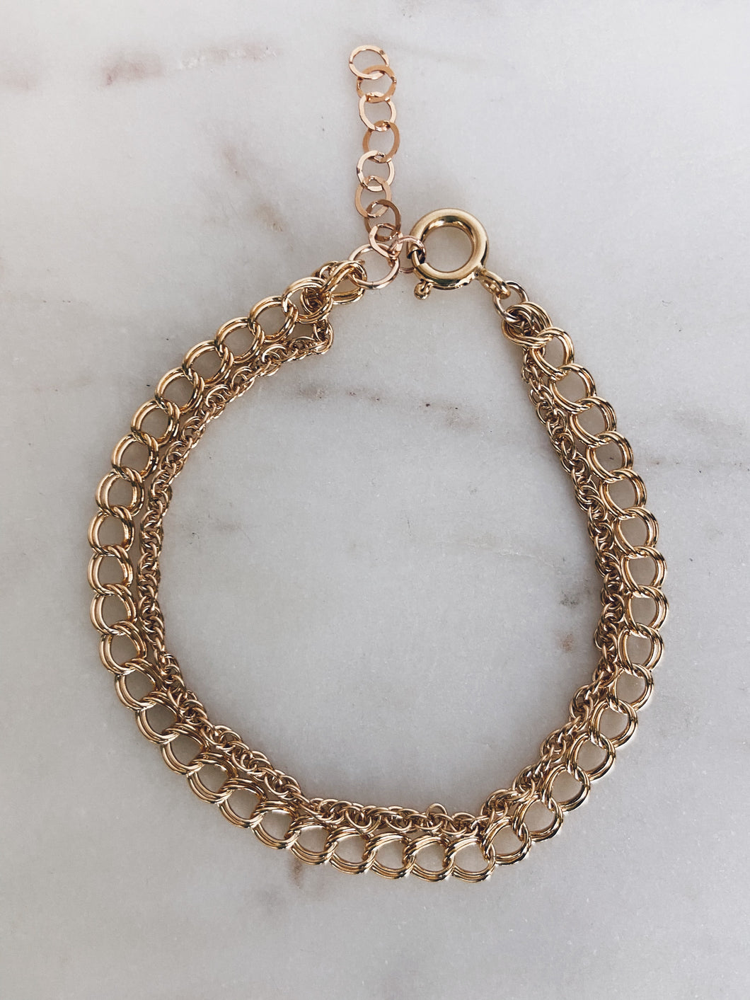 14k Gold Filled Rope & Curb Chain Layered Bracelet