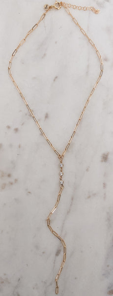 14k Gold Fill Link & CZ Y Necklace