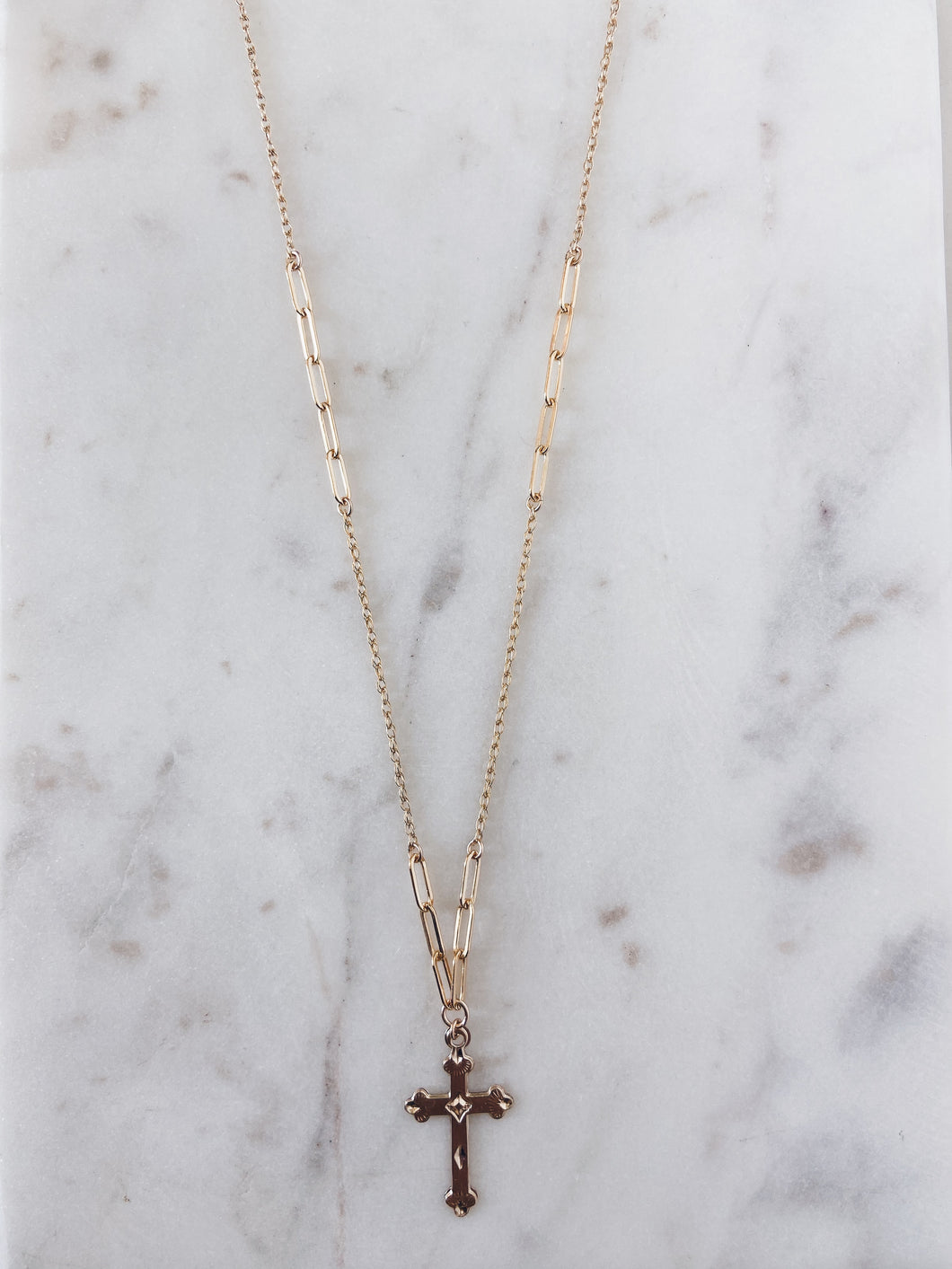 Faithful Necklace 14k Gold Filled Cross & Mixed Chain