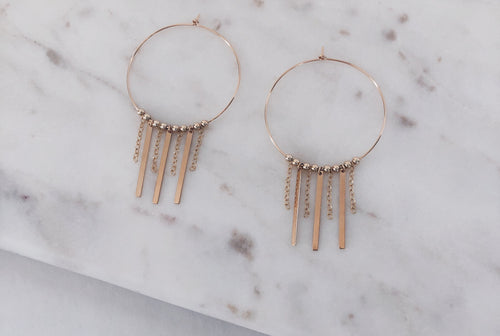 Fringe Bar & Chain Hoop Earrings