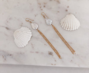 Freshwater Coin Pearl Duster Earrings