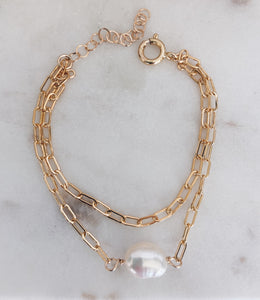 14k Gold Filled Layered Baroque Pearl Bracelet