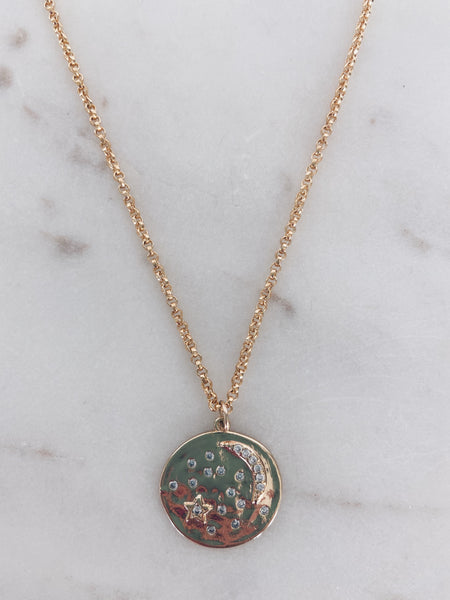 CZ Moon & Stars Coin Necklace