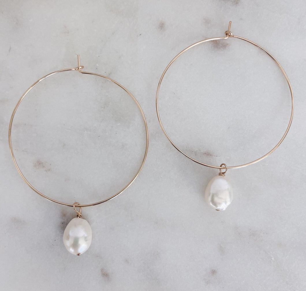 14k Gold Filled Baroque Pearl Hoops