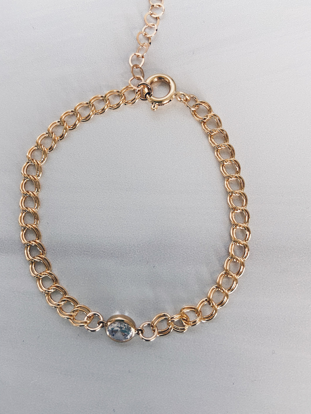 14k Gold Filled Curb Chain & CZ Anklet