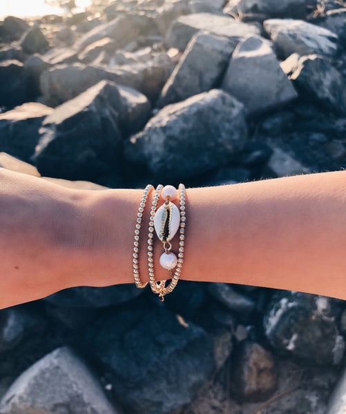 Cowrie Shell & Pearl Chain Bracelet