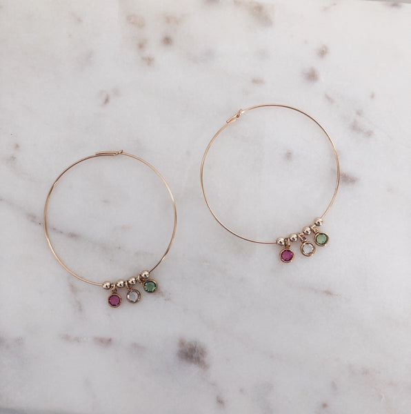 Swarovski Birthstone Hoop Earrings