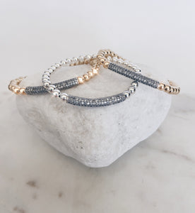 CZ Pave Tube Beaded Bracelet