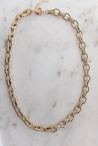 Gold & Pave CZ Oval Chain Necklace