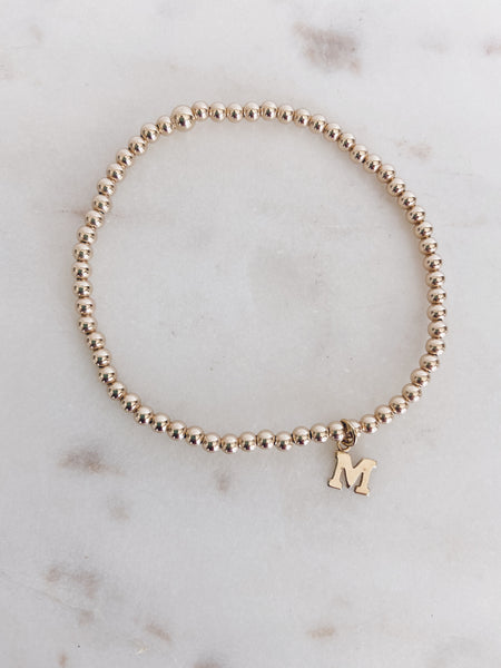 14k Gold Filled Beaded Block Initial Bracelet