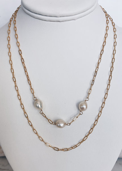 14k Gold Filled Layered Baroque Pearl Necklace