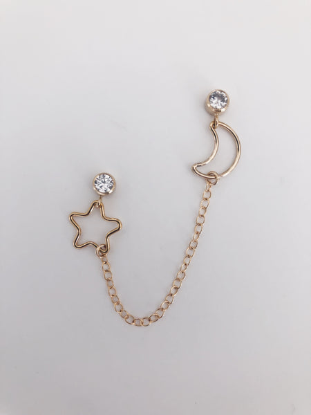 Double Star and Moon Stud Earrings