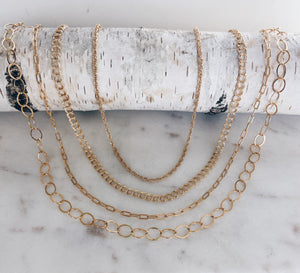 Short Link & Flat Oval Chain Layered Necklace