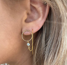 Circle CZ Threader Earrings