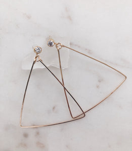 CZ Triangle Hoops