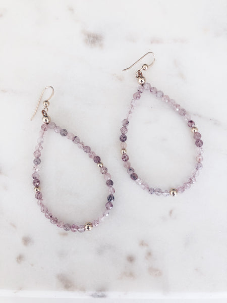 Semiprecious Gemstone Teardrop Hoops