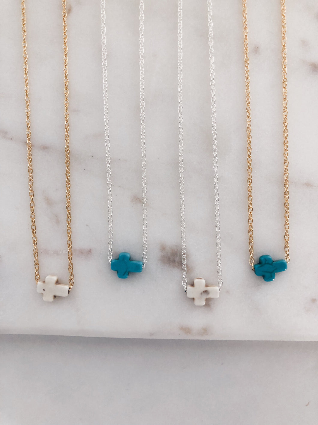Mini Turquoise Cross Necklace