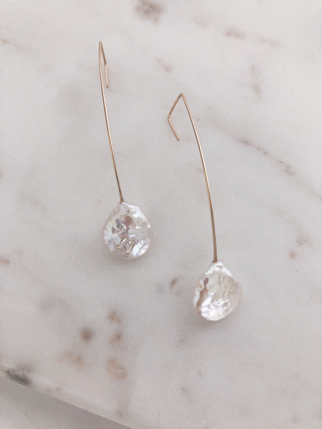 Coin Pearl Linear Earrings