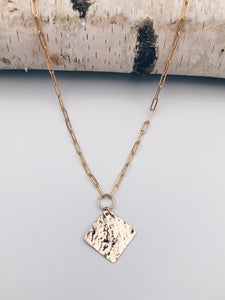 Rhombus Hammered Coin Link Necklace