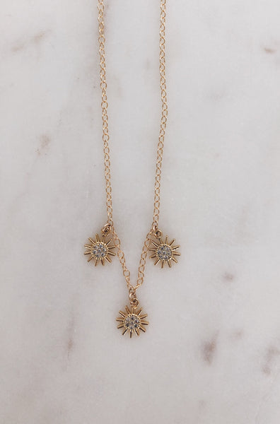 Mini Trio CZ Starburst Necklace