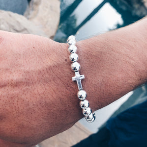 Sterling Silver Cross Beaded Bracelet