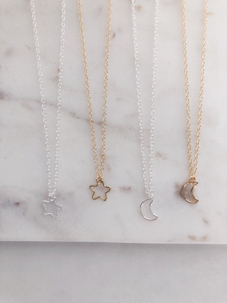 Mini Star or Moon Necklace