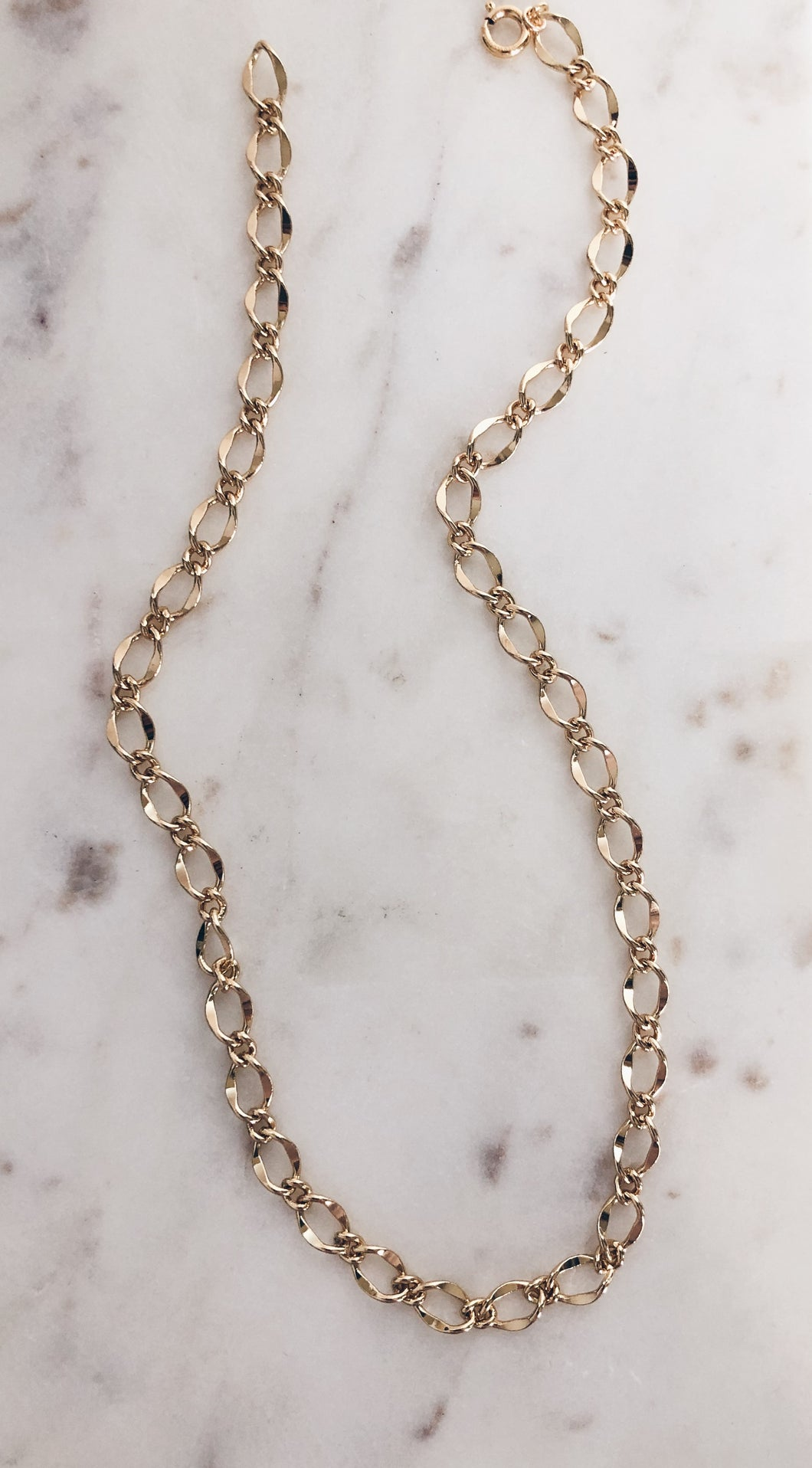 Chunky Gold Brass Link Necklace