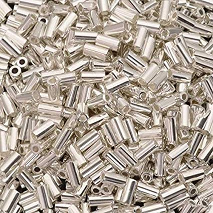 BGL1-961 3mm Bugle Bead Bright Sterling Plated