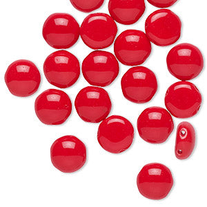 Beads, Bead, Preciosa Candy™, Czech pressed glass, opaque red, 8mm candy with (2) 0.8-0.9mm holes. Sold per pkg of 20.