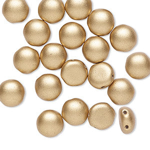 Beads, Bead, Preciosa Candy™, Czech pressed glass, opaque satin gold, 8mm candy with (2) 0.8-0.9mm holes. Sold per pkg of 20.